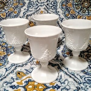 Milkglass 4 Harvest grape goblets, 5 3/8 in.